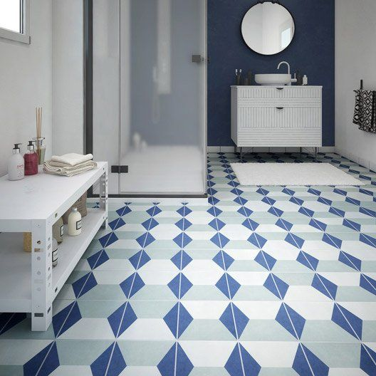 Carrelage Sol Et Mur Bleu Blanc Effet Ciment Dément L20 X L