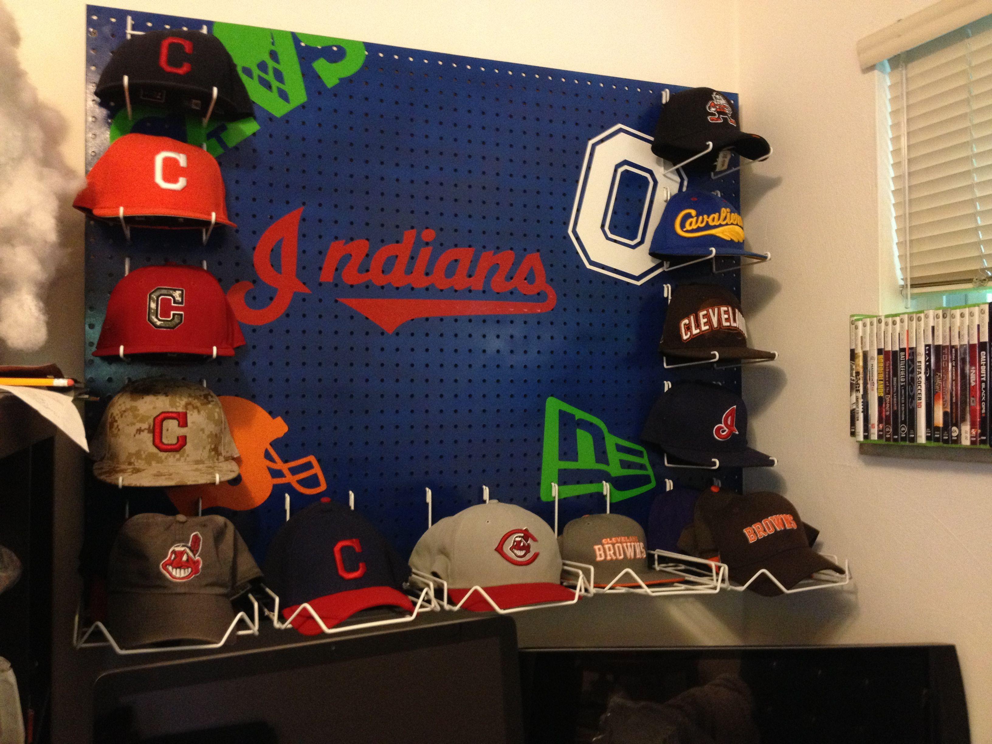 Pegboard baseball cap hat rack ohio sports theme for my for Baseball hat storage ideas