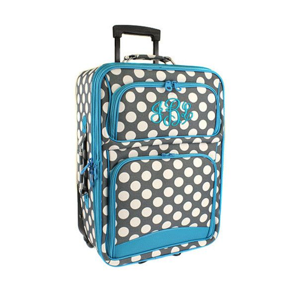 Monogrammed Rolling Luggage - Polka Dot - 20 in.- Grey/Turquoise ...