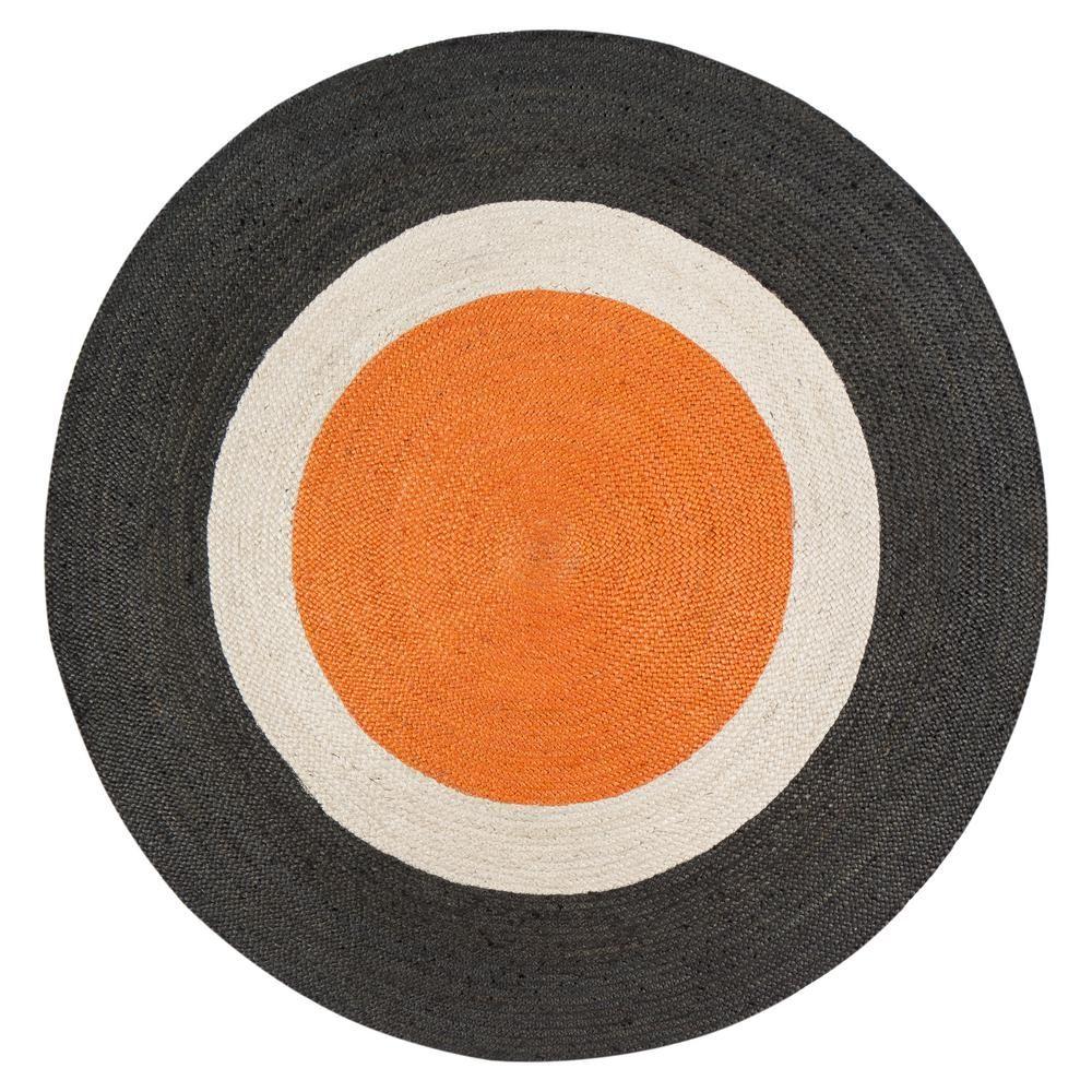 Anji Mountain Orange Dot Gray Border 6 Ft X 6 Ft Round Area Rug