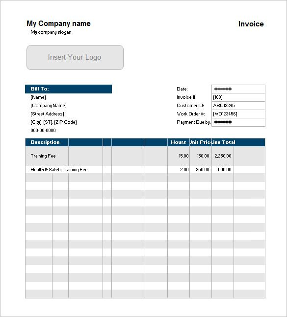 Example Of Service Invoice With Customer List Excel  Invoice