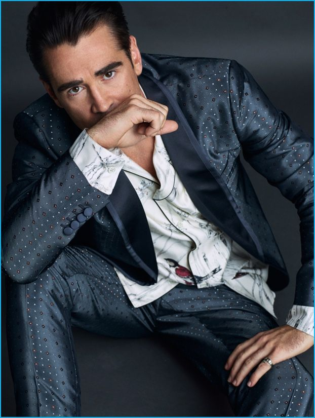 Colin Farrell pictured in a suiting look from Dolce & Gabbana.