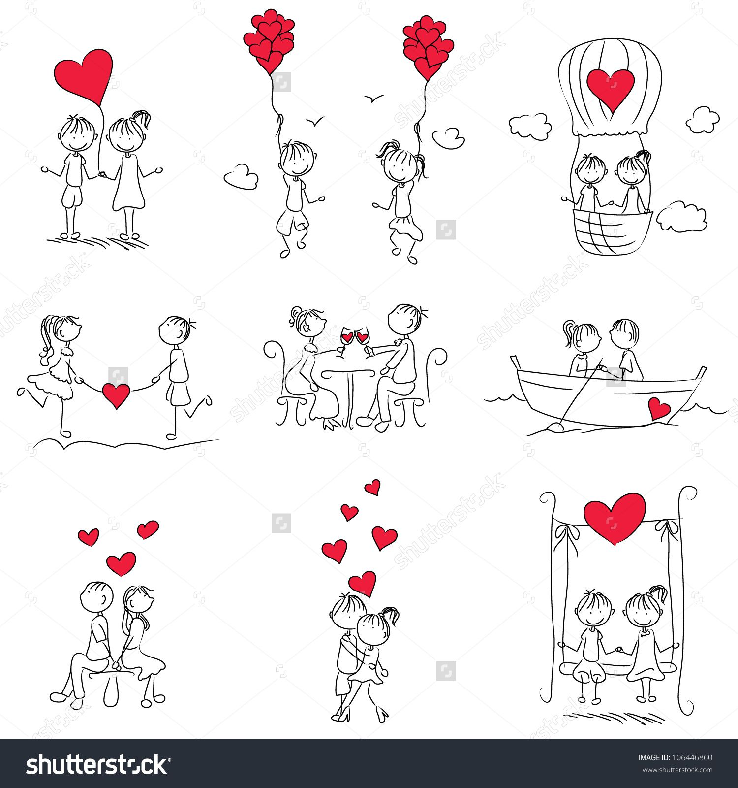 cartoon couple doodle with red heart shape | イラスト | pinterest