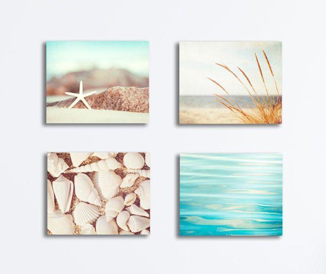 Items similar to coastal canvas set four 4 aqua white light beige cream brown beach photography gallery wraps nautical water seashell seaside wall art set