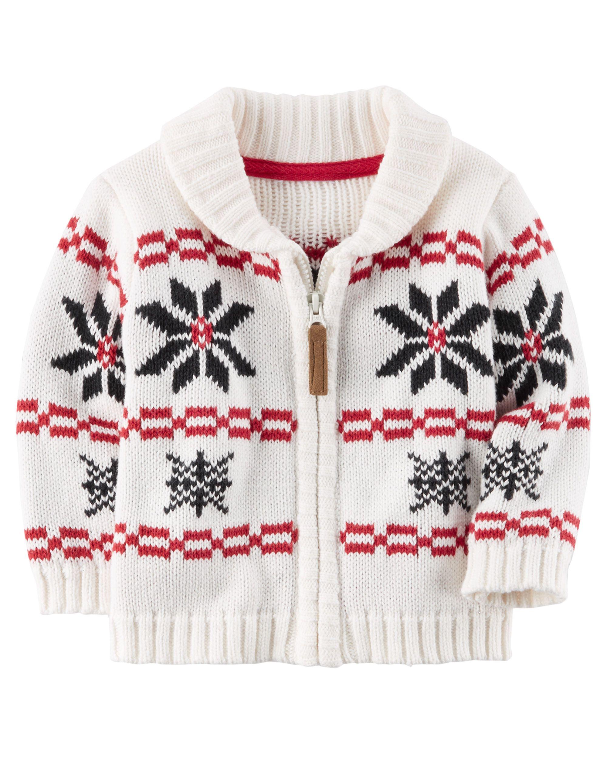 Zip Up Intarsia Knit Cardigan