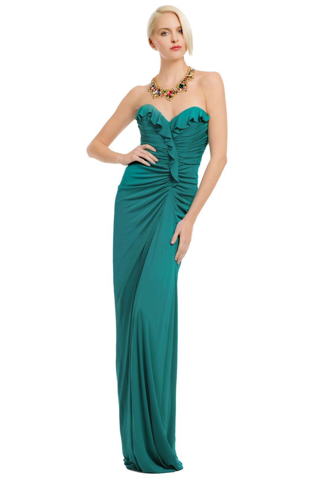 Aqua Queen Gown $125 Runs true to size but top may fold over.