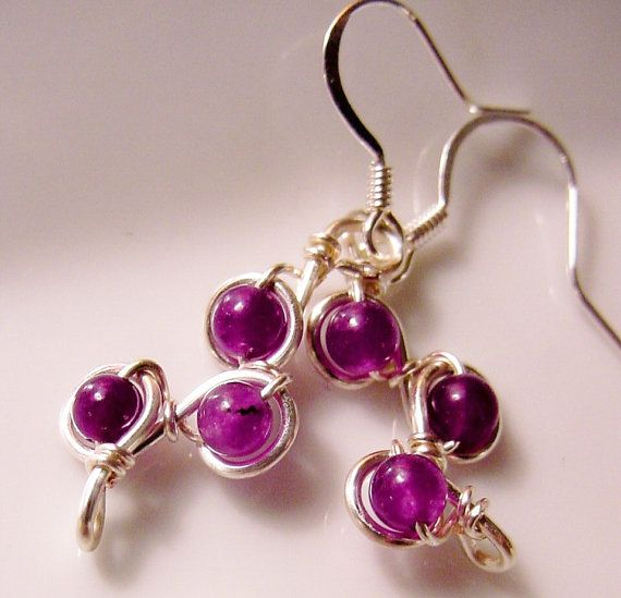 Calming Amethyst Earrings Petite Wire Wrapped, Unique Creation by CherylsHealingGems, $17.00
