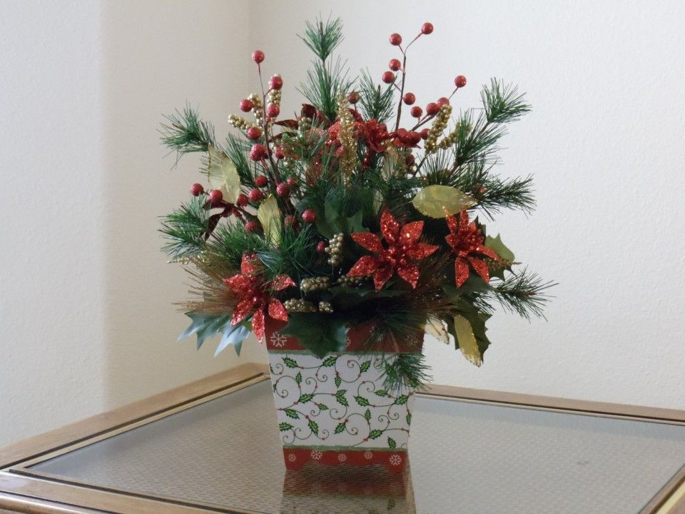 Homemade christmas fake flower arrangements poinsettia for Poinsettia arrangements