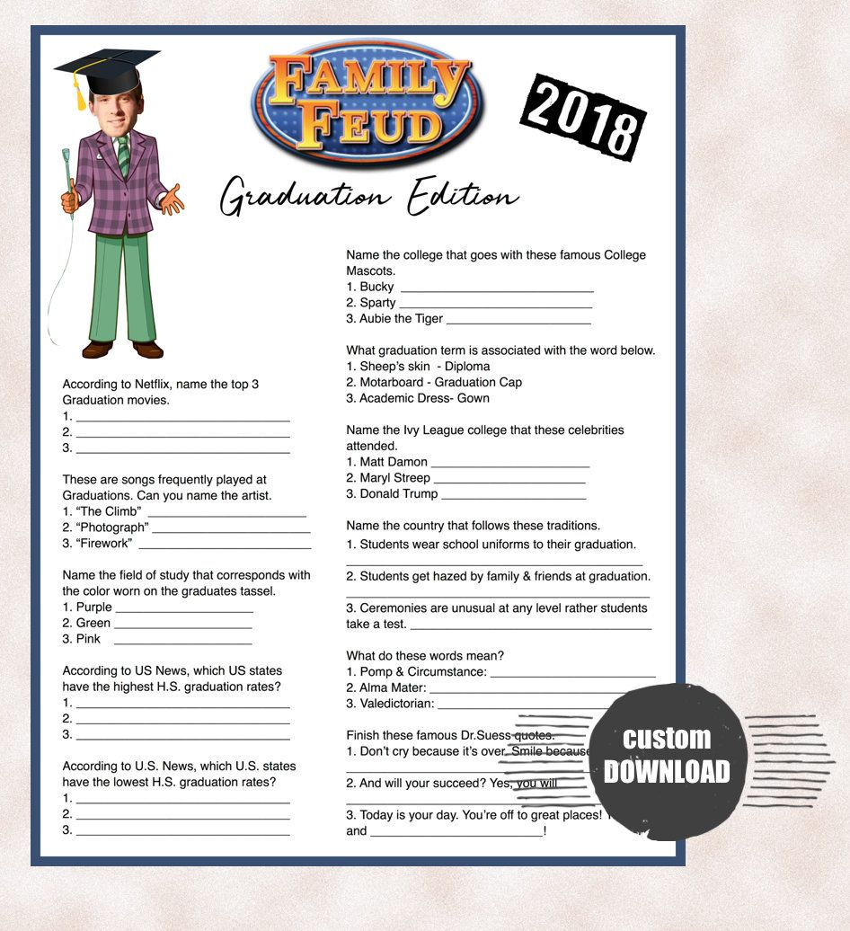 Graduation Party Game-Family Feud Style- Custom Download