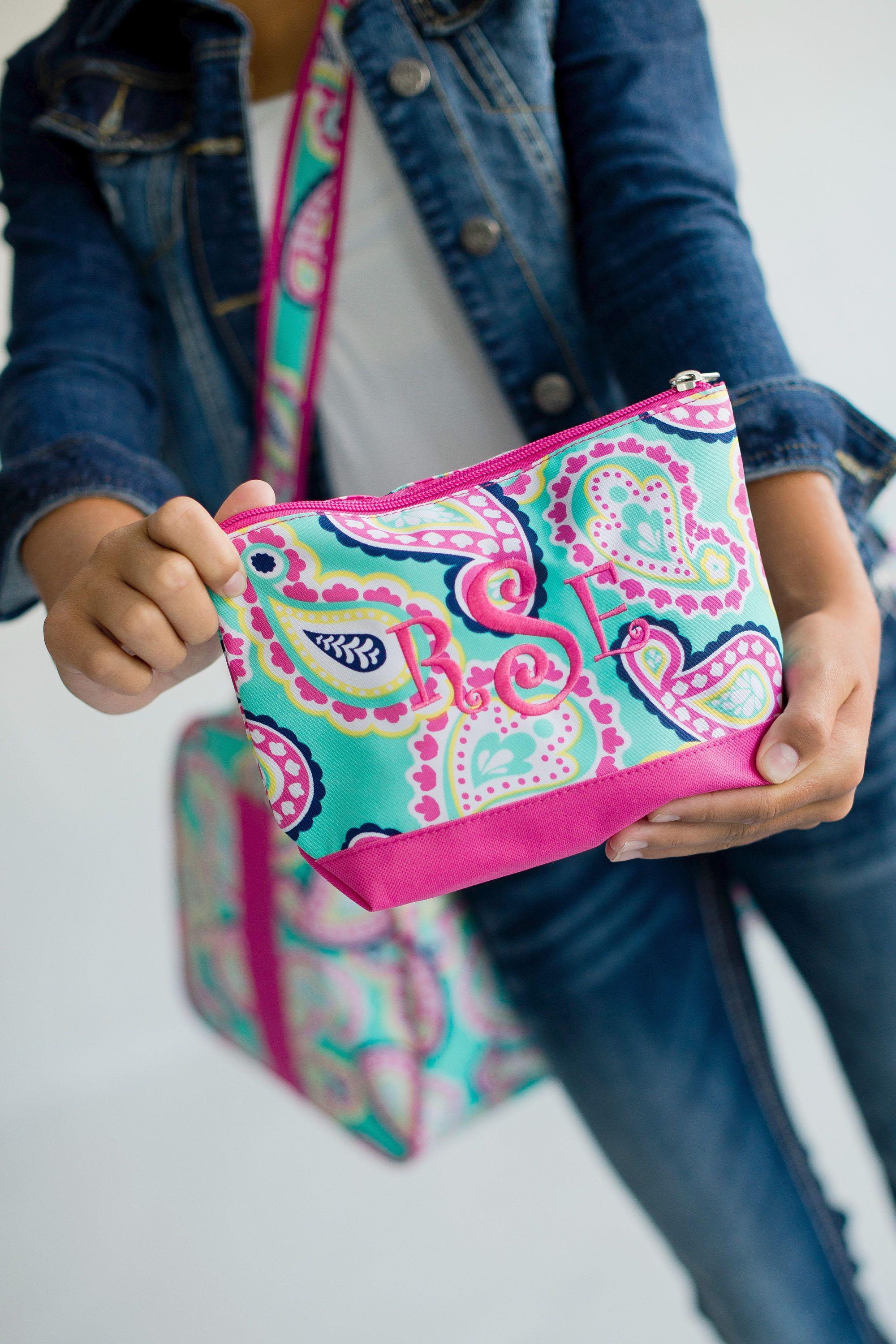Personalized Paisley Cosmetic Bag, Summer Cosmetic Bag