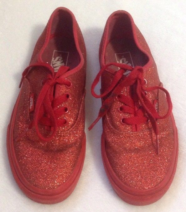 Kids Authentic Vans Shimmer Red Sneakers Sz 1.5 Glitter Shoes Laced Skater  Shiny 24bd93e7b