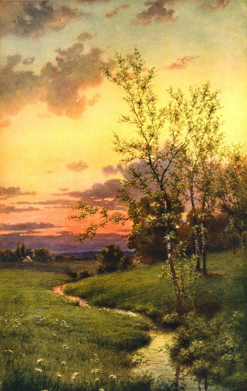 Beautiful Vintage Book Illustration Spring Landscape Print 20 Free Vintage Printable Image Beautiful Landscape Paintings Landscape Paintings Spring Landscape