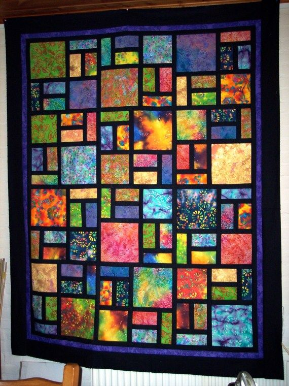 Ideas Or Thoughts Batiks Mixed With Solids Quilts Batik Quilts Stained Glass Quilt