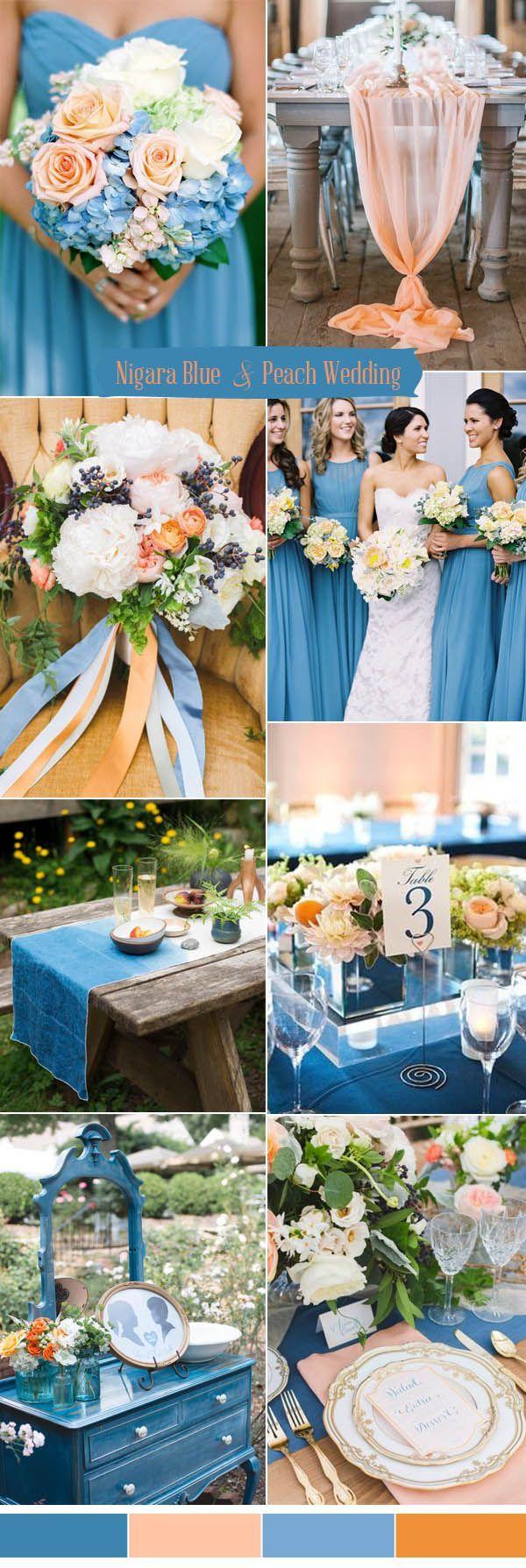 Pantone color nigara blue and peach wedding color ideas for