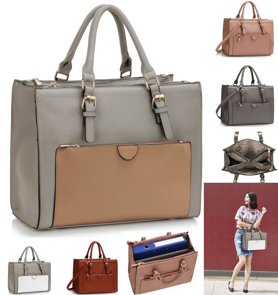 large tote bag with compartments