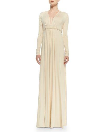 T8K24 Rachel Pally Long-Sleeve Jersey Maxi Caftan Dress