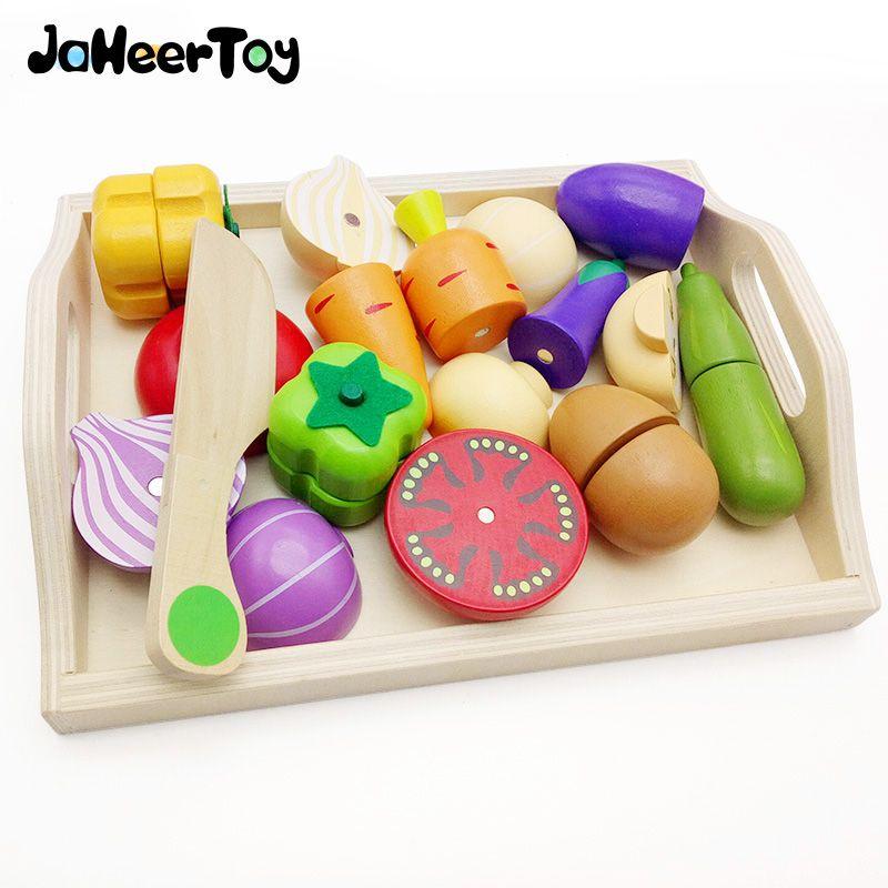Jaheertoy Holz Kuche Spielzeug Set Schneiden Gemuse Spielzeug Fur