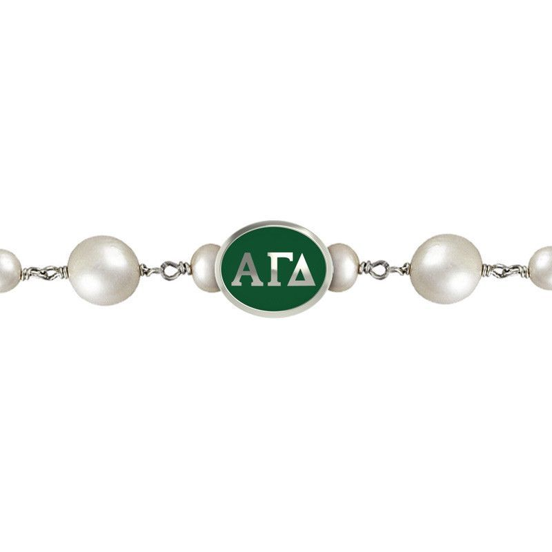 Alpha Gamma Delta Tin Cup Pearl Bracelet with Enameled Bead