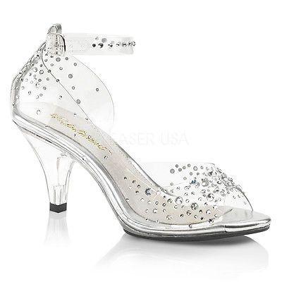 Clear Glass Slippers Cinderella Disney Princess Wedding Shoes Bridal Heels  7 8 9