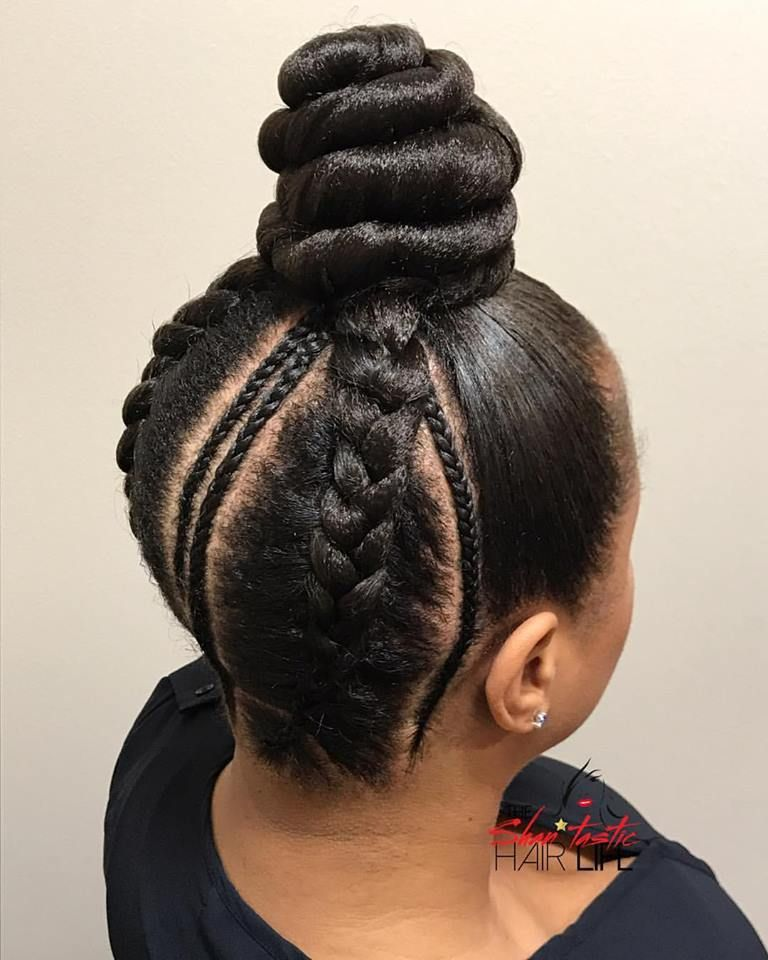 Protective Style Feed In Braided Bun Braid Spirations In