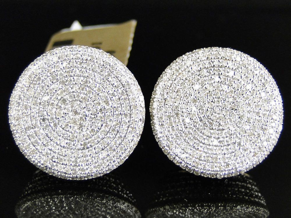 NEW MENS ROUND WHITE FINISH BLACK//WHITE DIAMOND 15 MM ROUND STUDS EARRINGS