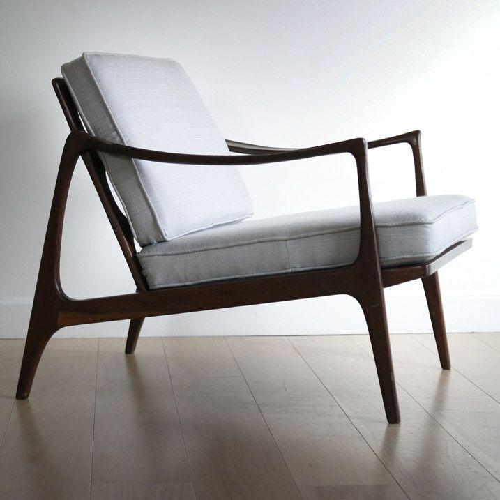 Deense fauteuil van mahonie vintage kindt larsen for for Deense meubels vintage