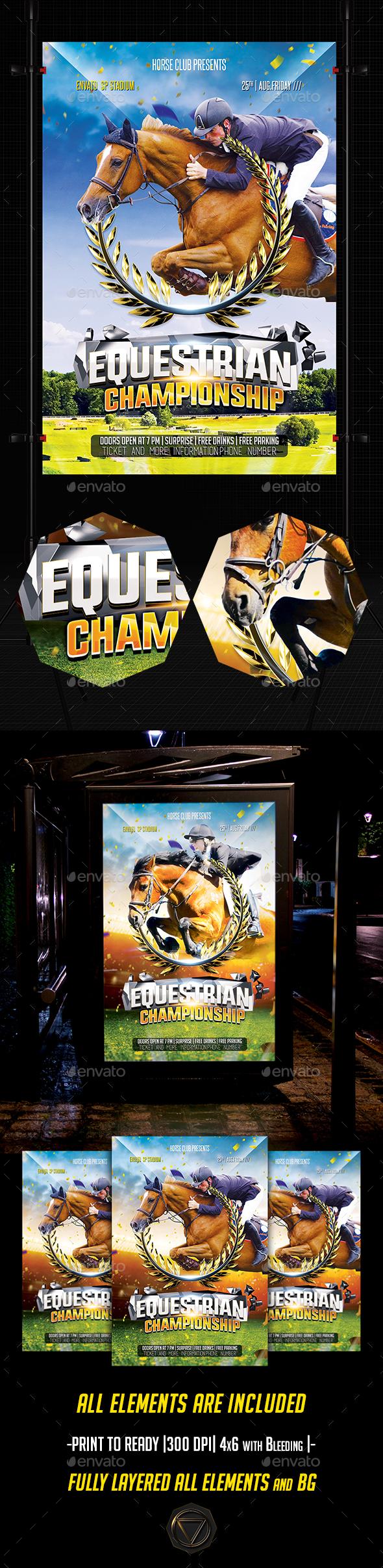 Equestrian Flyer — PSD Template #Equestrian flyer #sport #Horse jump ...