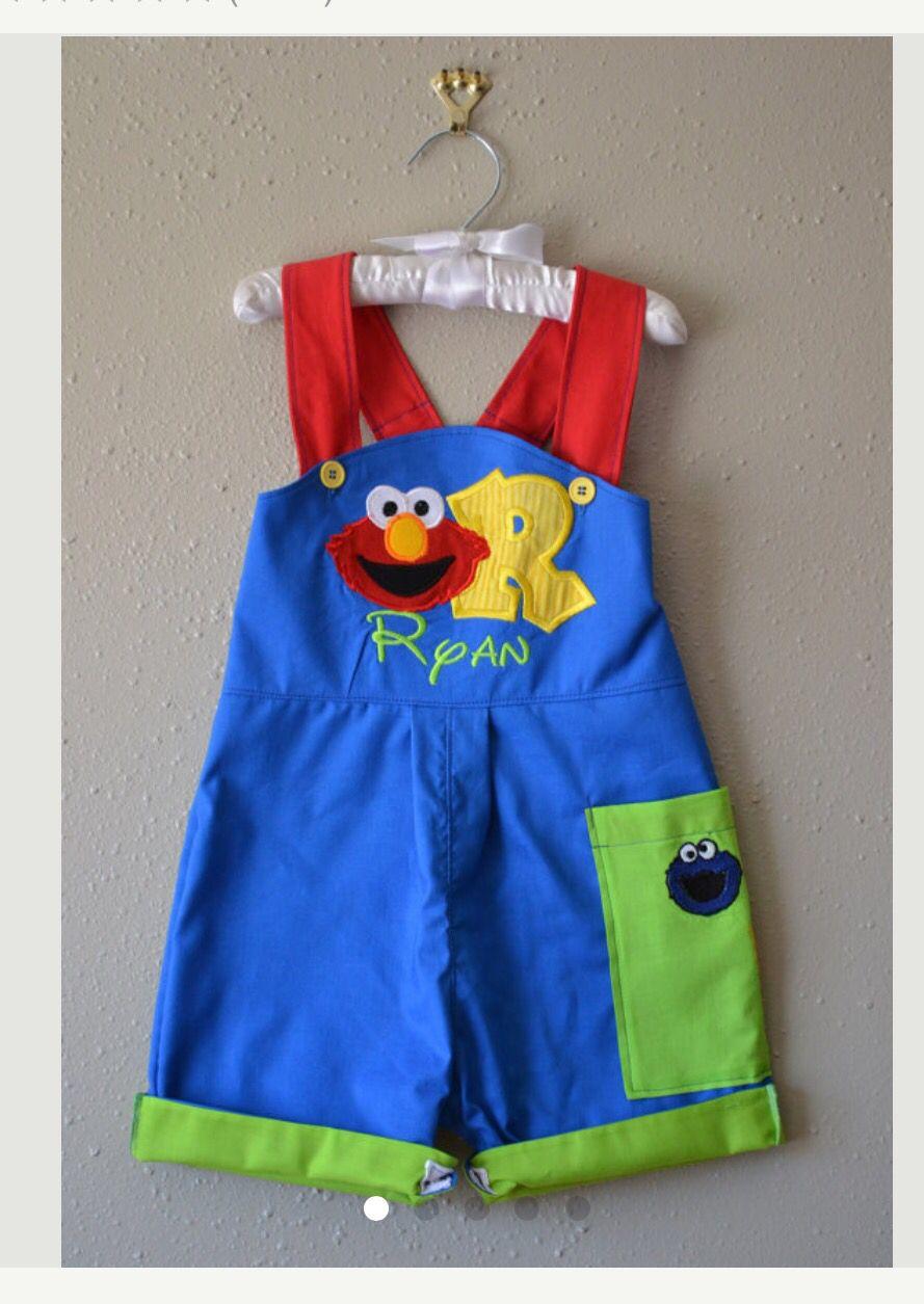 Sesame Street Elmo overall Boys birthday outfits, First