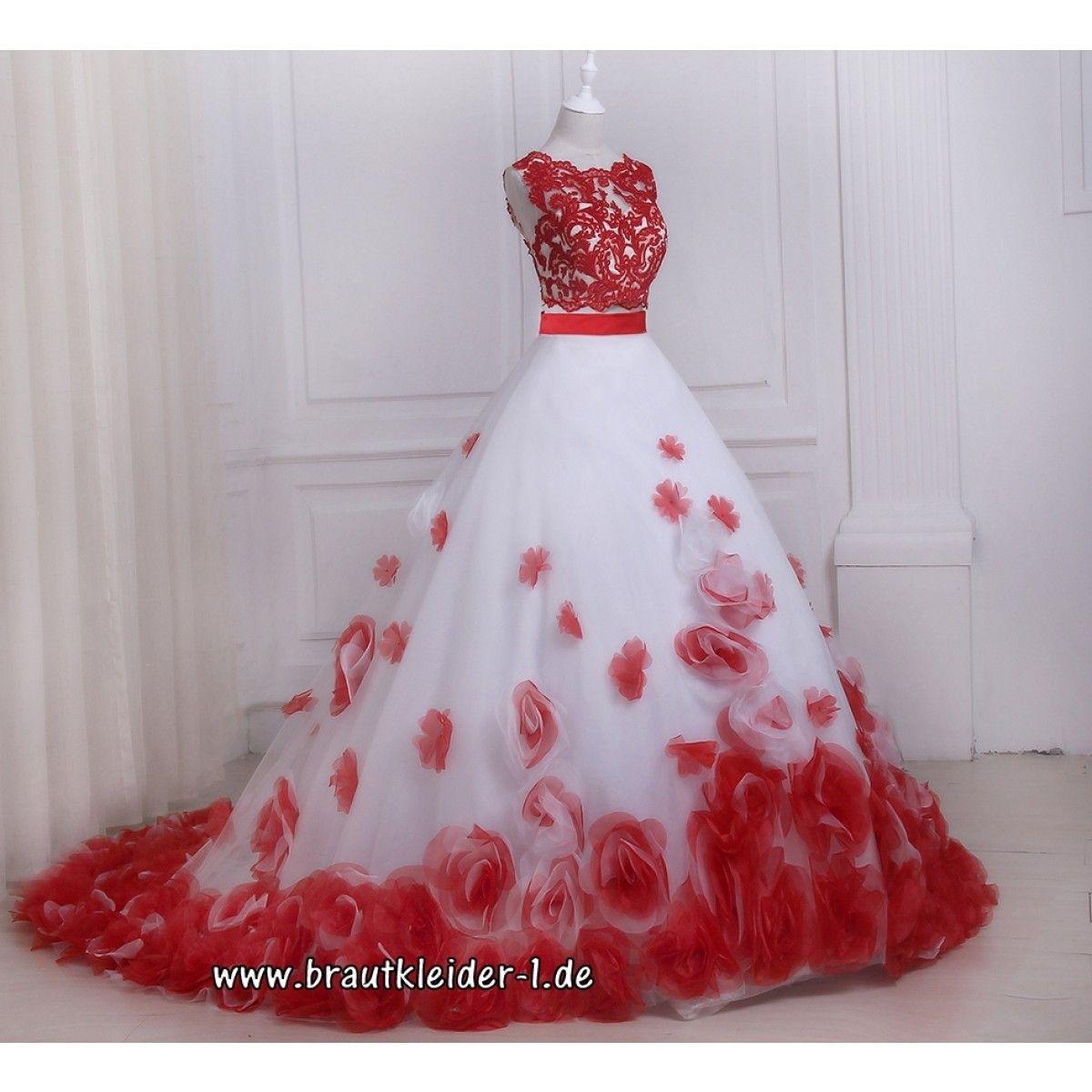 A Linie Brautkleid Dagmar in Rot Weiß mit Blumen  Rote