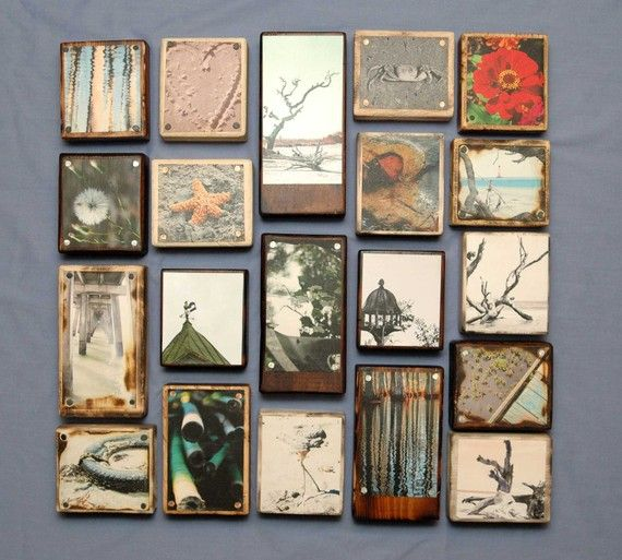 Photos mounted onto reclaimed wood Stain and distress wood possibly in walnut,