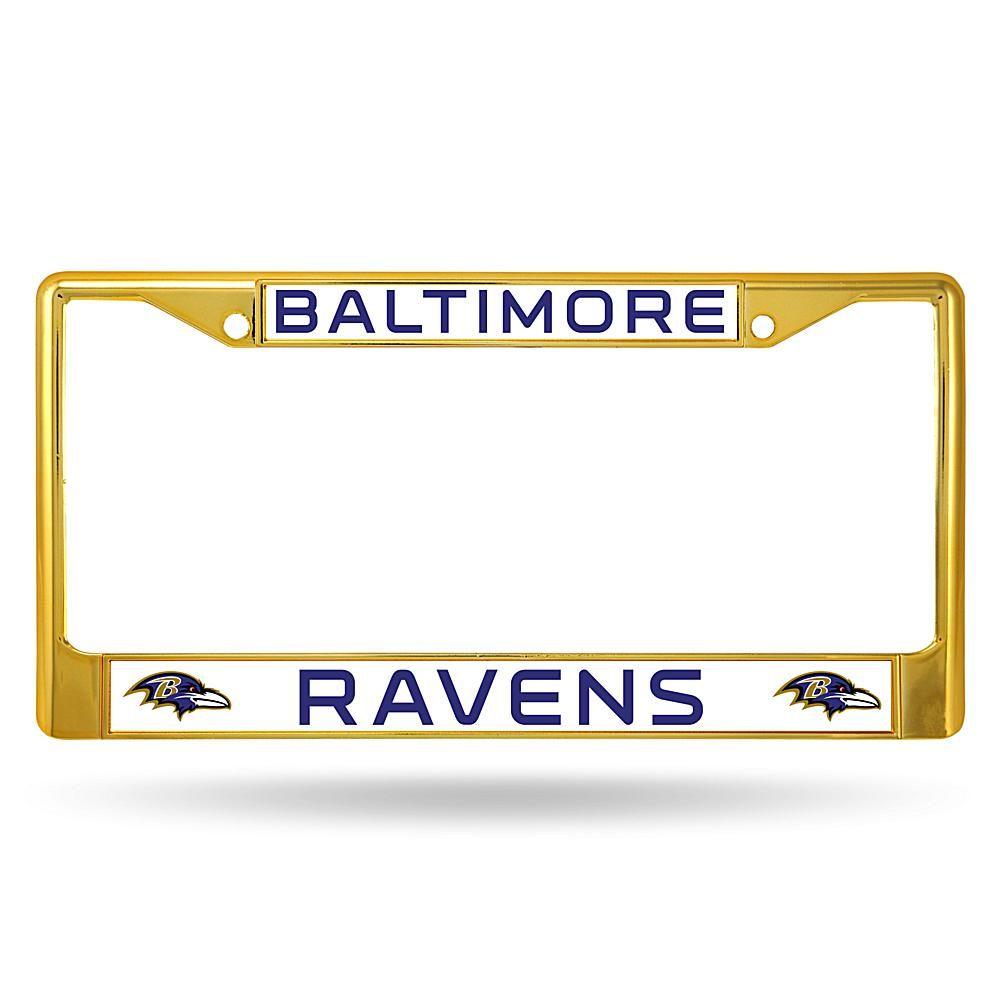 Officially Licensed NFL Gold Chrome License Plate Frame - Ravens ...