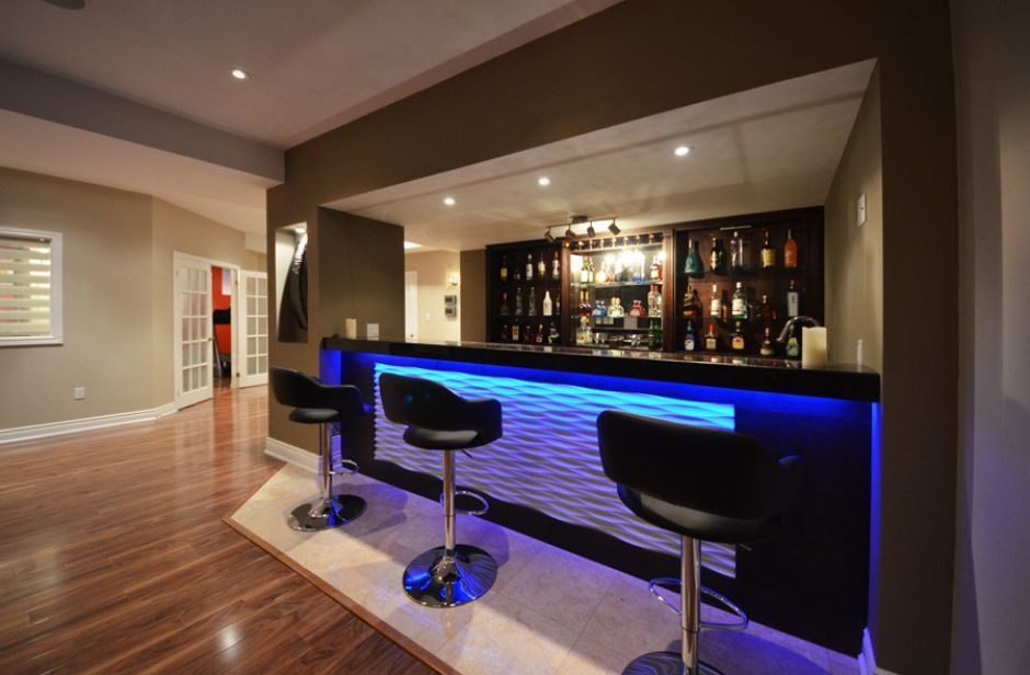 inspiration-ideas-modern-basement-bar-with-bar-15 & 21 Stunning Modern Basement Designs | Pinterest | Modern basement ...