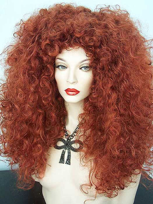 RIHANNA BEYONCE BIG RED CURLY BIG HAIR WIG! Drag Queen ba879edc38