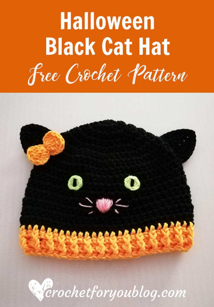Crochet Halloween Black Cat Hat Free Pattern Crochet Cat Hat Halloween Crochet Fingerless Gloves Crochet Pattern