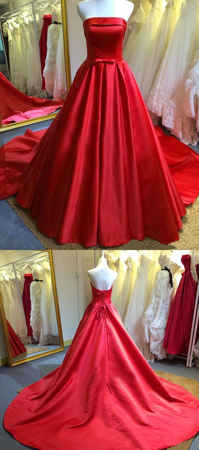 Strapless long red formal occasion dress long prom dresses elegant