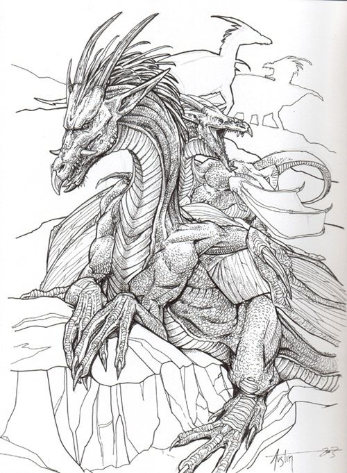Nice line drawing (With images) | Dragon coloring page ...