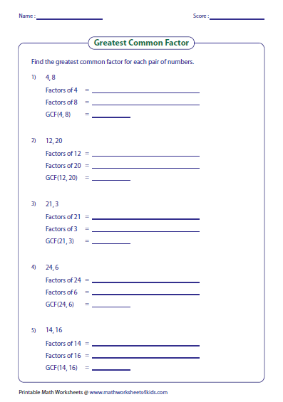 Greatest Common Factor Worksheets Greatest Common Factors Common Factors Factors And Multiples