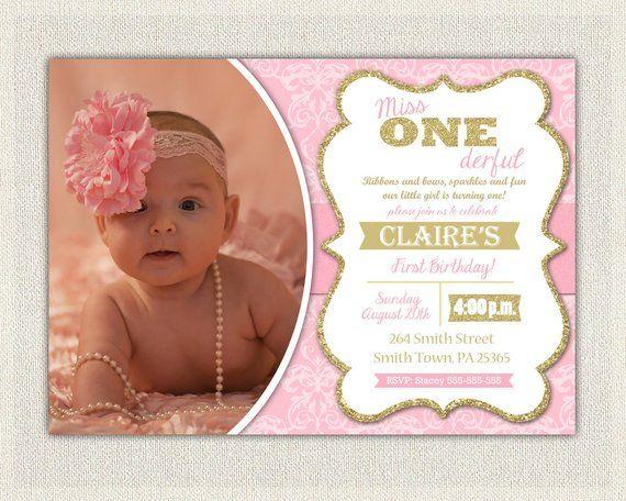 First Birthday Invitation Damask Princess Invitations Pink And Gold