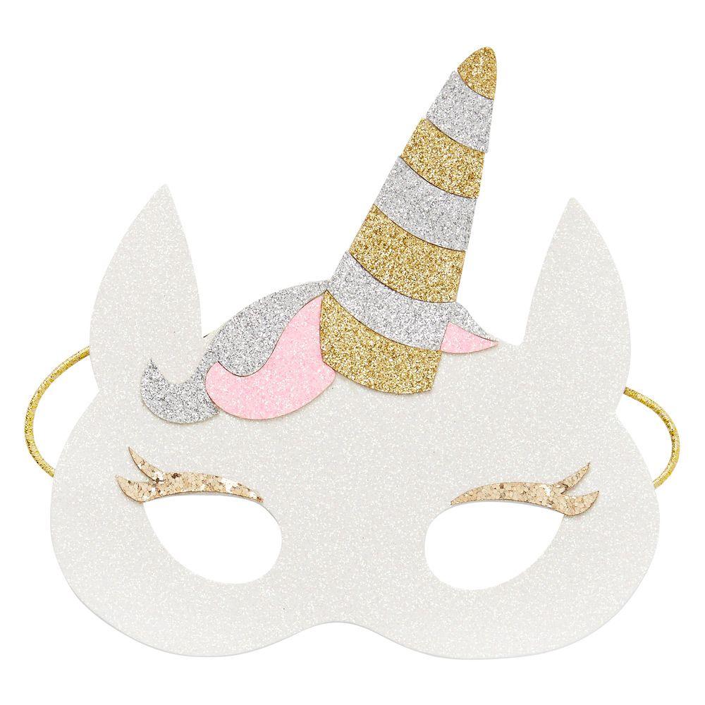 kids novelty unicorn mask glitter finish with soft felt back and