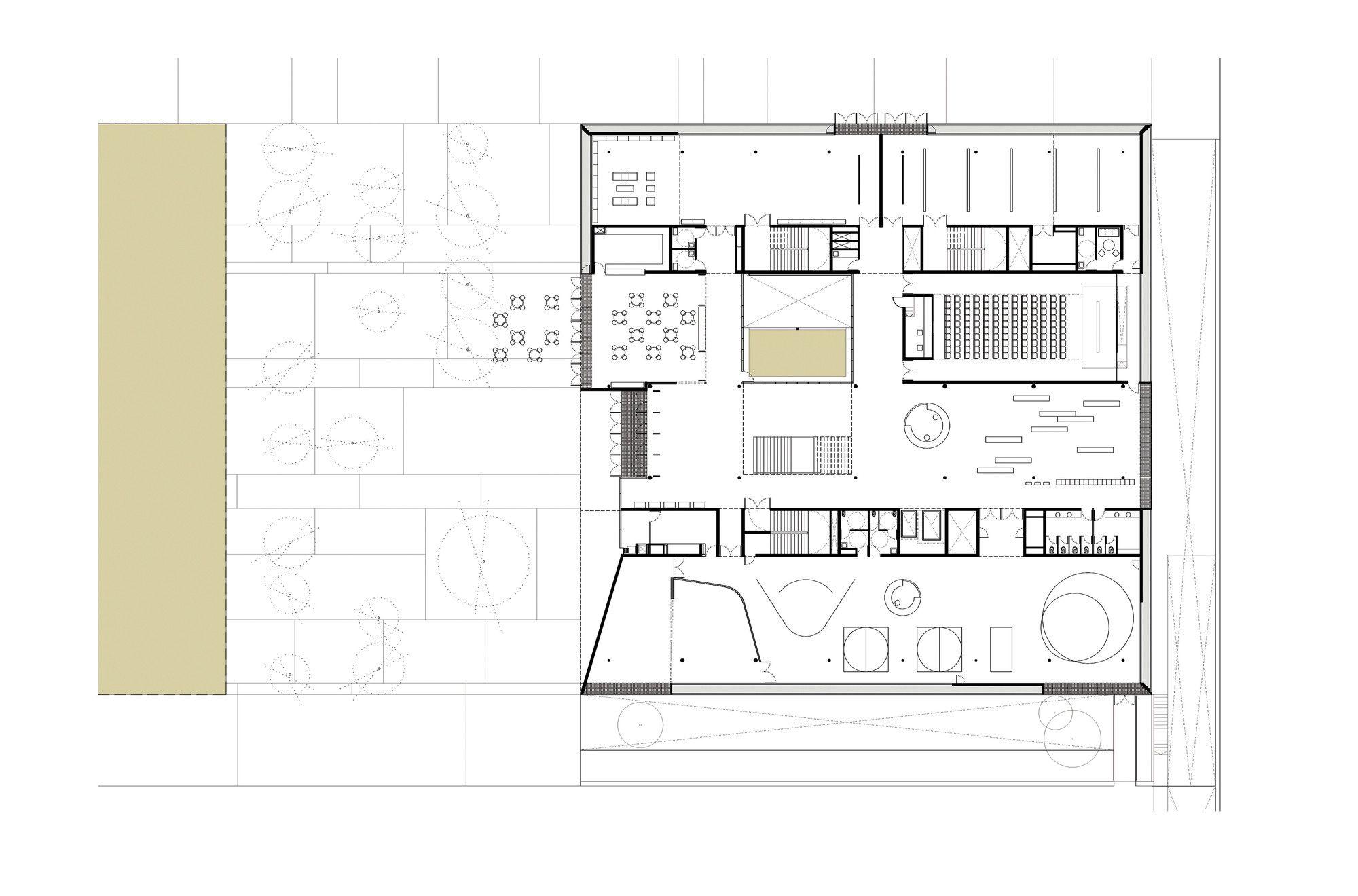 Galeria de biblioteca p blica de girona corea moran for Planta arquitectonica biblioteca