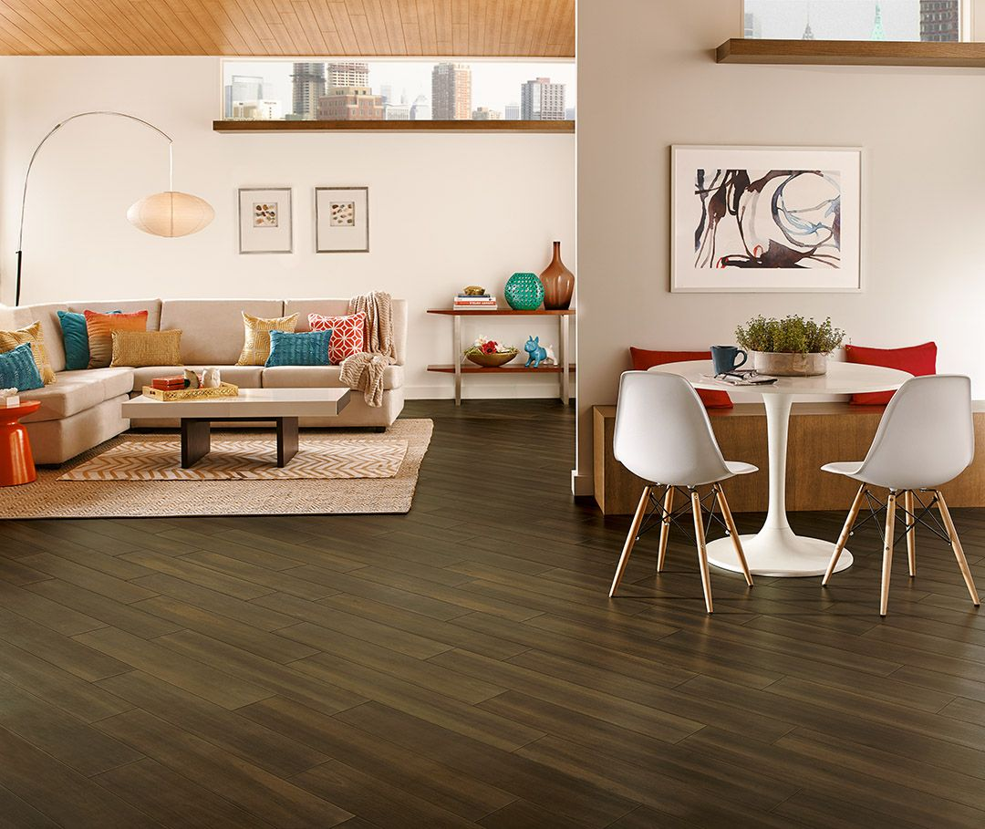 Dark Flooring Installed On Diagonal Luxury Vinyl Plank Vinyl Plank Living Room Inspirat Vinyl Flooring Luxury Vinyl Tile Best Flooring For Basement