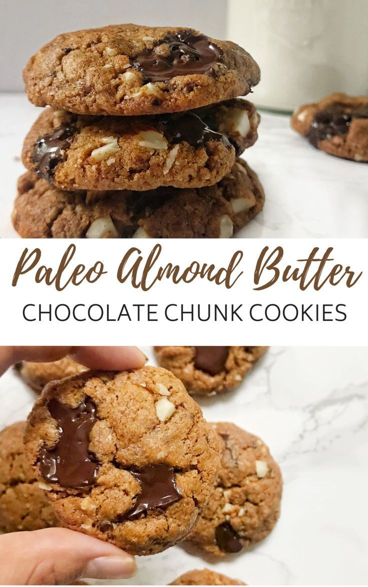 Paleo Almond Butter Chocolate Chunk Cookies The perfect flourless cookies to make when you require dessert ASAP! They take one bowl and less than 20 minutes from start to finish. Crispy edges, chewy on the inside, and the perfect amount of melty dark chocolate in each bite.