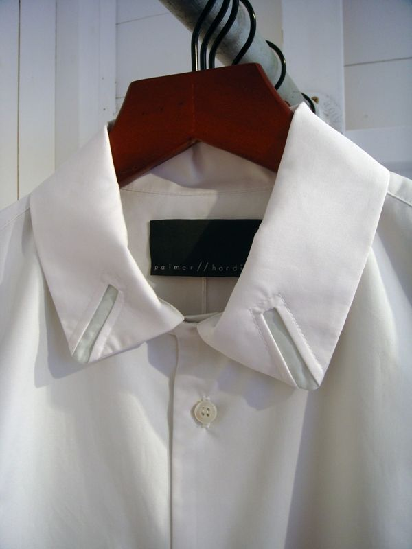 White shirt reinvented with cut out collar detail; sewing idea; pattern cutting; creative fashion details // Palmer Harding