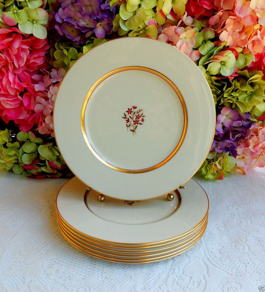 7 Beautiful Vintage Lenox Porcelain China Dinner Plates ~ Nydia Gold Red Flower & 7 Beautiful Vintage Lenox Porcelain China Dinner Plates ~ Nydia Gold ...