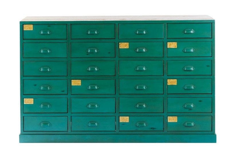 Cabinet Indus 24 Tiroirs Nino En Metal Vert Cabinet Maisons Du