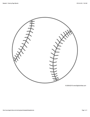 Sports coloring page with a picture of a large baseball to