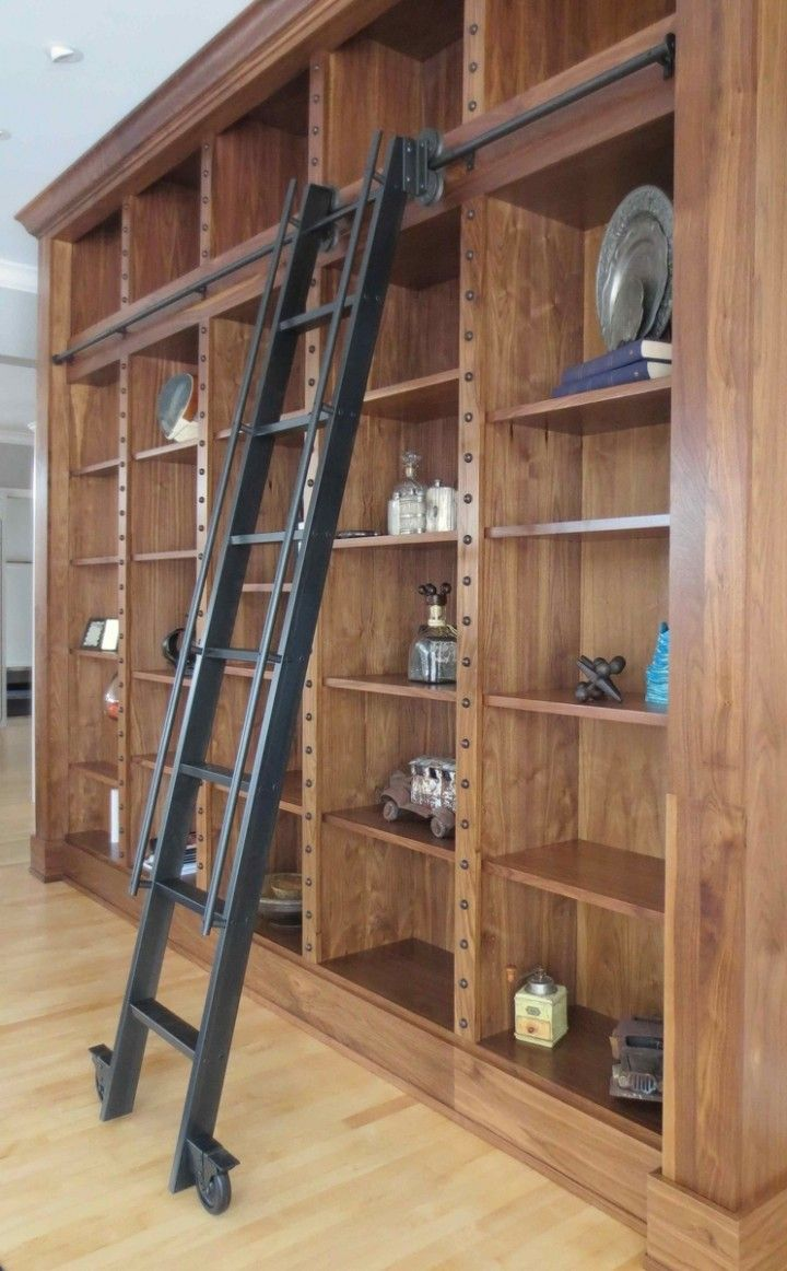Black Metal Materials Modern Library Ladders With Low Style Tube Shaped  Handrails And Double Side Space