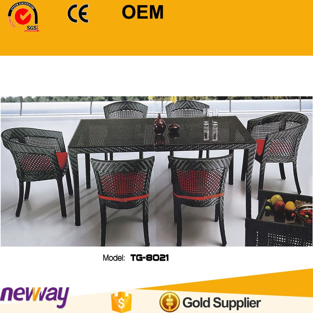 Patio outdoor furniture environmental friendly rattan dining table sets with six chairs