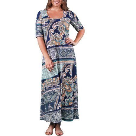 24/7 Comfort Apparel Women's Plus Size Earth Paisley Printed Maxi, Size: XL