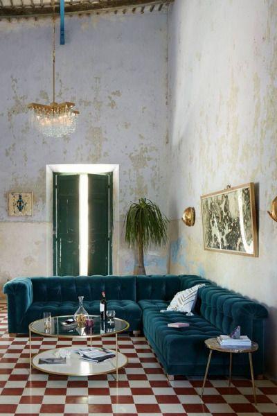 Home Decor New Trend Velvet Sectional Sofa Checkerboard Floor House Interior Home Furniture Interior